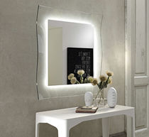 Wall-mounted mirror / illuminated / contemporary / square