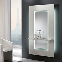 Wall-mounted mirror / with shelf / illuminated / contemporary