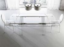 Contemporary table / glass / aluminum / rectangular