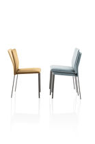 Contemporary chair / stackable / upholstered / steel