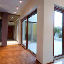 Sliding patio door / aluminum / double-glazed / thermally-insulated