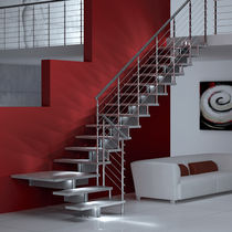 Quarter-turn staircase / wooden steps / metal frame / without risers