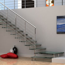 Quarter-turn staircase / glass steps / metal frame / without risers