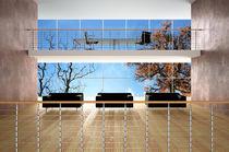 Metal railing / wooden / with bars / indoor