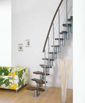 Straight staircase / quarter-turn / wooden steps / steel frame