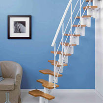 Straight staircase / circular / wooden steps / steel frame