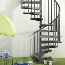 Spiral staircase / metal steps / steel frame / without risers