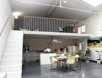 Indoor railing / steel / wooden / with bars