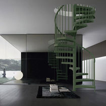Spiral staircase / composite steps / without risers / contemporary