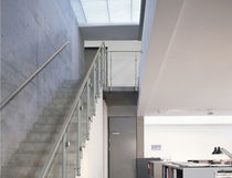Indoor railing / stainless steel / glass panel / for stairs