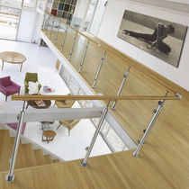 Stainless steel railing / glass panel / indoor / outdoor