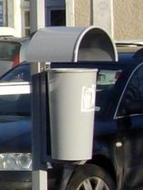 Public trash can / built-in / steel / contemporary