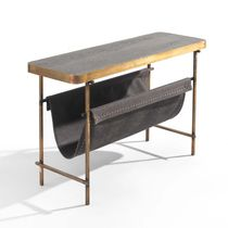 Contemporary sideboard table / wooden / metal / leather
