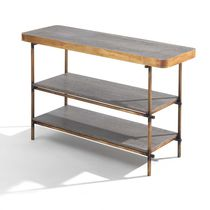 Contemporary shelf / wooden / metal / marble