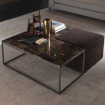 Contemporary coffee table / wooden / metal / leather