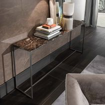 Contemporary sideboard table / metal / marble / rectangular