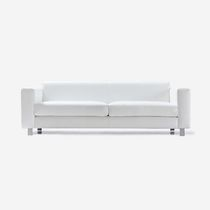 Contemporary sofa / leather / 3-seater / white