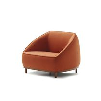 Contemporary armchair / fabric / leather / contract
