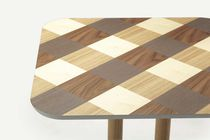Contemporary dining table / oak / walnut / square