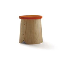 Contemporary side table / wooden / chestnut / round