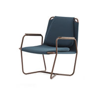 Contemporary armchair / metal / sled base / gray