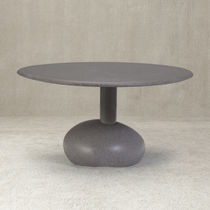 Organic design dining table / wooden / stone / resin