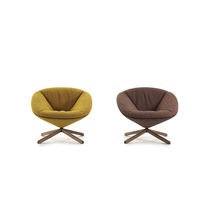 Contemporary armchair / fabric / with headrest / with footrest