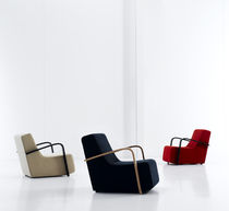Contemporary armchair / fabric / sled base