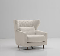 Contemporary visitor armchair / fabric / wing