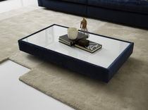 Contemporary coffee table / glass / wooden / rectangular