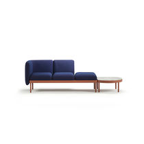 Modular upholstered bench / contemporary / fabric / wooden
