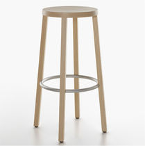 Contemporary bar stool / ash / lacquered wood / stained wood