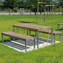 Contemporary picnic table / wooden / rectangular / for public areas