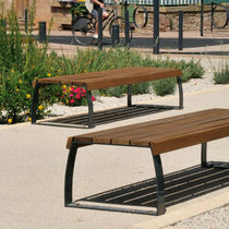 Public bench / contemporary / steel / concrete