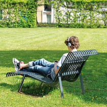 Contemporary chaise longue / steel / outdoor / for public areas