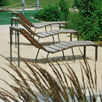 Contemporary chaise longue / wooden / indoor / outdoor
