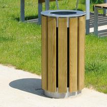 Public trash can / wooden / contemporary