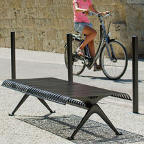 Public bench / contemporary / metal / commercial