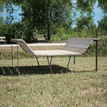 Contemporary sofa / outdoor / wooden / for public buildings