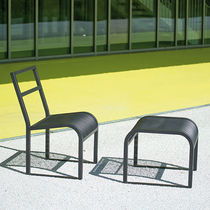 Contemporary chair / with footrest / steel / for public spaces