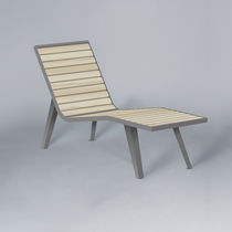 Contemporary chaise longue / wooden / steel / outdoor
