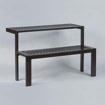 Contemporary bench and table set / steel / exterior / for public areas