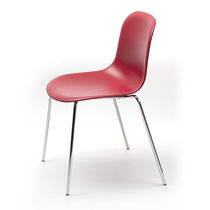 Scandinavian design visitor chair / stackable / with armrests / upholstered