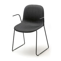 Scandinavian design visitor chair / fabric / chrome steel / chromed metal