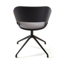 Contemporary visitor chair / fabric / ash / polished aluminum
