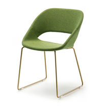 Contemporary visitor chair / upholstered / sled base / fabric