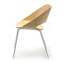 Contemporary visitor chair / fabric / ash / chrome steel