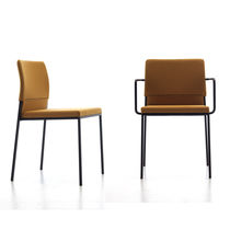 Contemporary chair / with armrests / upholstered / stackable