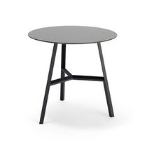 Original design pedestal table / metal / round / for public buildings