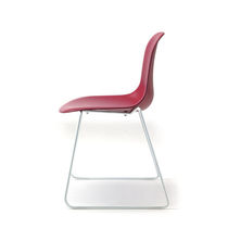 Contemporary chair / stackable / sled base / upholstered